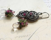 Wire Wrapped Sterling Silver Earrings Dangle Tourmaline October Birthstone