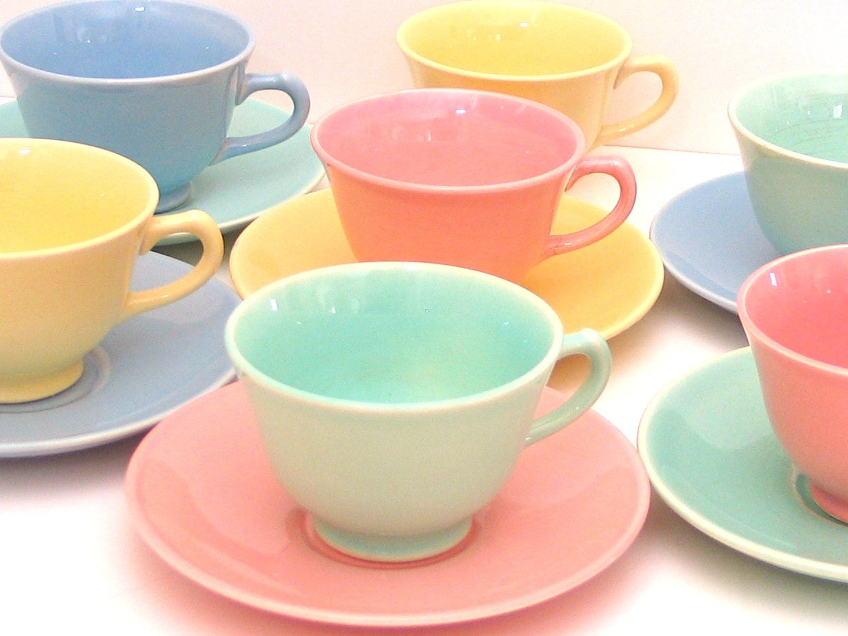SET of 7 Lu-Ray Pastels Tea Cups and Saucers in Pink Yellow.
