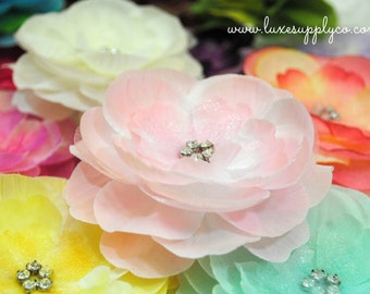 ONE Rhinestone Centered Flower - You PICK the Color - Choose from TWENTY colors