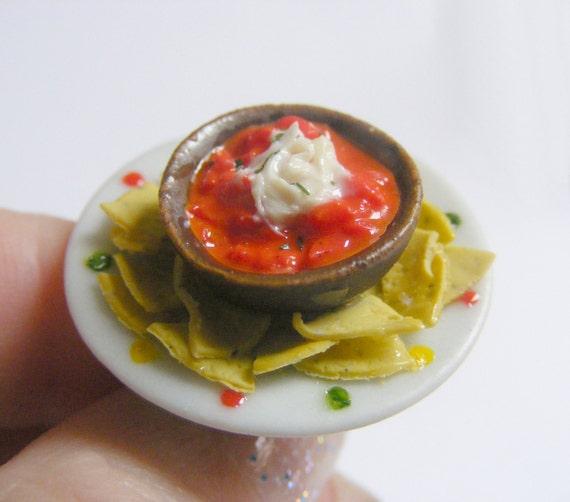 Tortillas / Nachos and Dip Miniature Food Ring - Miniature Food Jewelry,Handmade Jewelry Ring