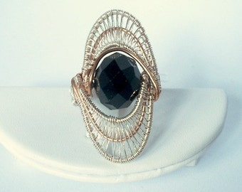 chunky wire wrapped beaded silver/ copper ring