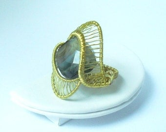 Wire wrapped Genuine Agate ring
