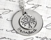 Hand Stamped Grandma Necklace with Family Tree Charm