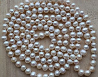 ivory pearl necklaces,50 inches 7-8mm freshwater pearl necklaces,pearl jewelry,long pearl necklaces,wedding necklace,bridesmaid necklace