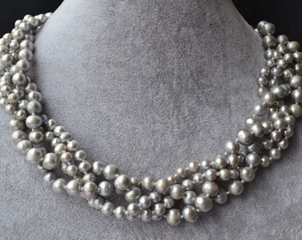 wedding necklace,grey pearl necklaces, four row twisted 5-9mm gray real Freshwater Pearl Necklaces,statement necklace,choker pearl necklace