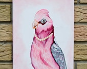 Pink with Pearls/Bird/Acrylic on canvas