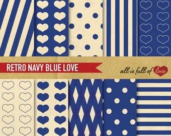 Retro Digital Paper Pack NAVY BLUE Scrapbook patterns Valentines Digital Paper Stripes Background Textures Printable Sheets Dotted Vintage