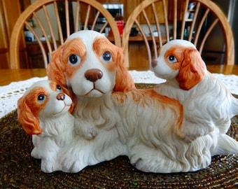 Homco Spaniel and  puppies- ceramic-  Price Reduced