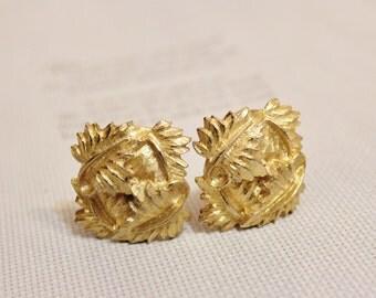 Vintage Gold Leaf Clip Earrings