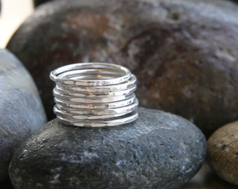 Skinny Sterling Silver Band Stacking Ring