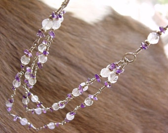 Amethyst & Sterling Necklace, wire wrap triple strand of Lavender Quartz and Amethyst  (#315)