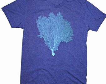 Men's Coral Seafan Screen Printed T-shirt Retro Hawaii Gorgonian