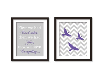 First we had each other and tree flying birds on gray chevron, nursery art