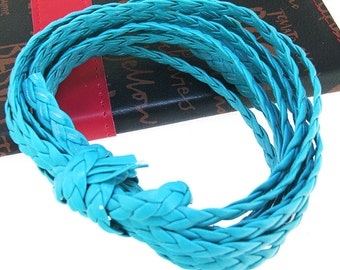 Handfasting Cord Leather Cord 7mm -- 3 Yards( 9ft ) -- Blue Leather Cord The hand-braided cord weave Cord