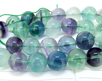 """One Full Strand--- Natural Round Rainbow Fluorite Crystal Quartz Gemstone Beads ----- 12mm ----- about 30Pieces --- 15"""" in length"""