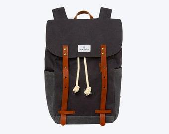 No. 2 - Canvas and Waxed Backpack, Dark Grey, Canvas Backpack, Waxed Canvas Backpack, Laptop Backpack, Waxed Canvas Laptop Backpack