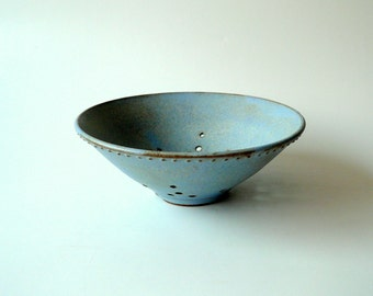 Pottery,Ceramic Berry Bowl in Matte Light Blue, Colander, Ceramic Strainer by Cecilia Lind, StudioLind