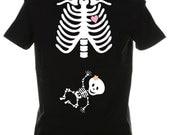 Halloween Skeleton Shirt, Halloween Costume Tshirt, For a GIRL Custom Pregnancy Shirt Maternity