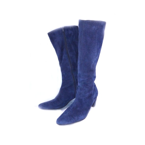 knee high blue suede boots equestrian