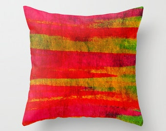 FIERCE Decorative Throw Pillow Cover 16x16 18x18 20x20 Wild Nature Masculine Stripes Abstract Watercolor Painting Design Urban Art Decor