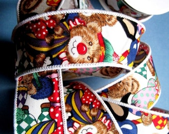 """Party Bears Wired Cotton Ribbon Trim, Multi / White, 1 3/8"""" inch wide, 1 yard For Home Decor, Gift Basket, Scrapbook, Children Crafts"""