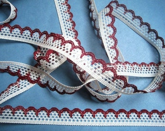"Cluny Lace Trim, Burgundy / White, 1/2"" inch wide, 1 Yard, For Scrapbook, Mixed Media, Apparel, Home Decor, Accessories"