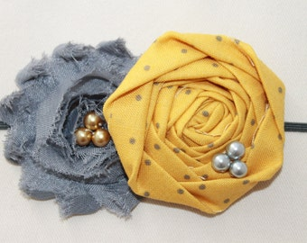 Mustard and Gray Rosette Baby Flower Headband, Newborn Headband, Baby Girl Flower Headband, Photography Prop