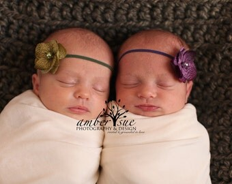 Olive and Violet Purple Hydrangea Twin Set Baby Headband, Newborn Headband, Baby Girl Flower Headband, Photography Prop