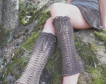 Lace Leg Warmers, Knit Leg Warmers, Lace Boot Sock, Women's Leg Warmers, Wool Leg Warmers, Festival Leg Warmers, Mori Girl,  Made To Order