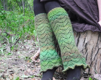 Knit Leg Warmers, Women's Leg Warmers, Green Leg Warmers, Festival Leg Warmers, Pixie Leg Warmers, Made To Order