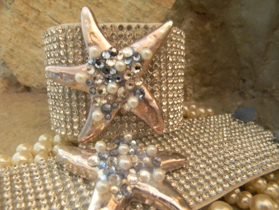 Starfish Beach Bracelet, Silver Starfish Bracelet, Starfish Cuff,Rhinestone Starfish Cuff, ,Rhinestone Wrist Cuff, Sea Glass Bracelet