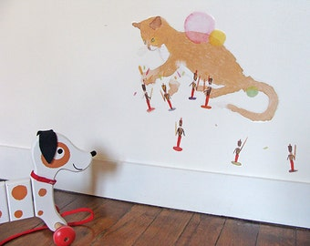 kid wall decal : the playing cat - kid wall decor - illustration for kids - art for kids