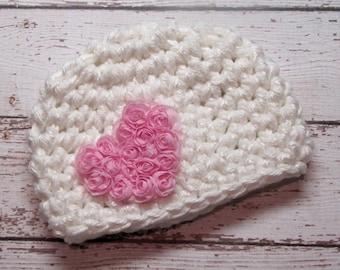 SALE Baby girl crochet hat with pink flower heart, beanie, newborn, photo prop, baby girl fashion
