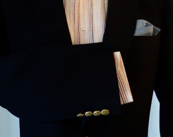 60s Vintage men's Lanvin Paris classic navy fitted blazer with brass buttons: size 42 tall US men's