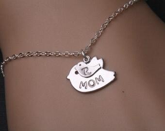 Mother bracelet,Bird initial,One baby,Bird initial bracelet,Gradema,Family bracelet,Mom bird baby,Babyshower gift