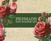 Premade Etsy Shop Set, Premade Etsy Banner and Avatar set, Vintage, Roses, Retro