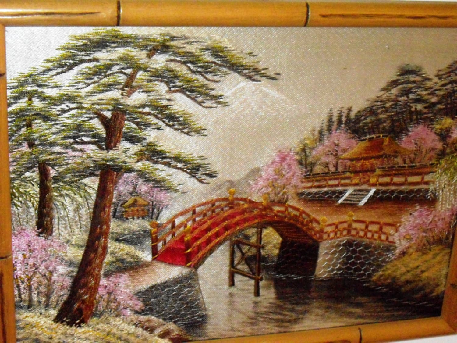 Vintage Asian Silk Embroidery Bamboo Frame Rare Hand