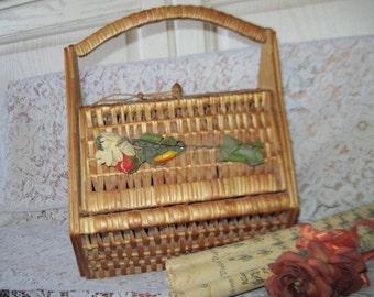 Basket Purse Wicker,Vintage Basket,Basket,Vintage Purses,Purse,Vintage Home Decor,Storage,   /:) S