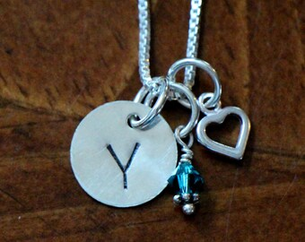 Personalized Initial Heart Necklace- Hand Stamped-Sterling Silver- Mothers Jewelry- Little Girl Jewelry