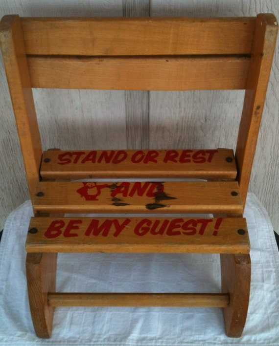 Wood Combo Chair: Wooden Childrens Combination Step Stool And Chair Stand Or