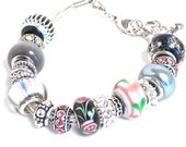 Large hole European style bead charm on multi-strand silver cord bracelet - CharmedBaublesNBeads