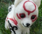 Needle felted amaterasu/chibiterasu-Okami (Made To Order)
