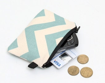 Coin purse, blue zipper pouch, padded change wallet - spa blue chevron stripes