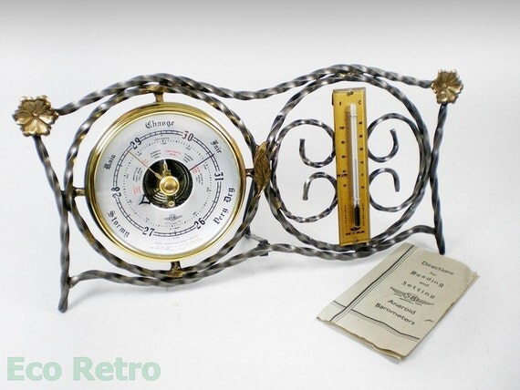 Decorative Vintage 1960's Wrought Iron Barometer & Thermometer in Original Box
