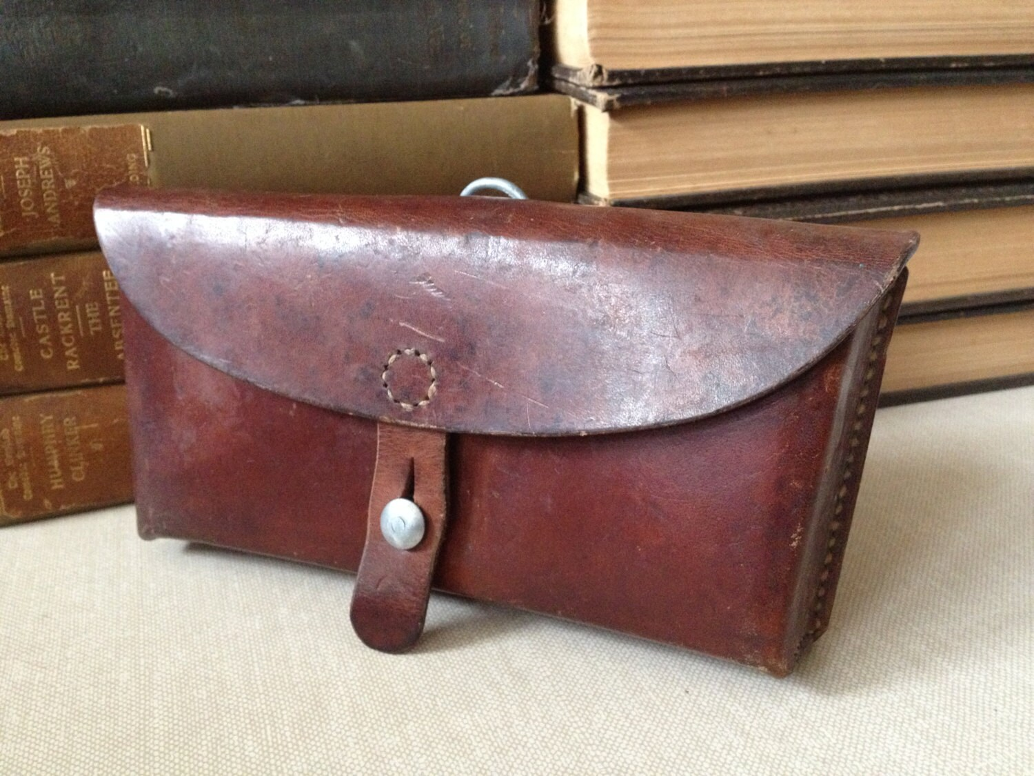 vintage swiss army handmade leather hip bag belt pouch