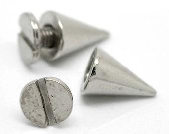 """20 Silver Cone Rivet Stud Spike - 10mm x 7mm (3/8""""x2/8"""") - Metal - Screw On - Rivets Studs Spikes  (B19366)"""