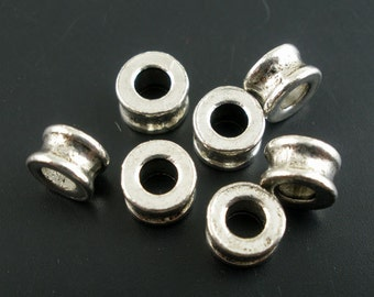 5 Antique Silver Slider Spacer Beads - 6mm x 4mm -  Silver Slider Bead for Leather Cord or Bracelet (B02219)