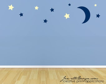 Nursery Wall Decals,Moon and Stars Fabric Wall Decal Set