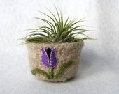 natural wool felted vessel with purple lavender  tulip spring garden flower