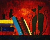 Original Abstract Painting - Pets In The Library - Acrylic Contemporary Art - By Lisa - Discounted